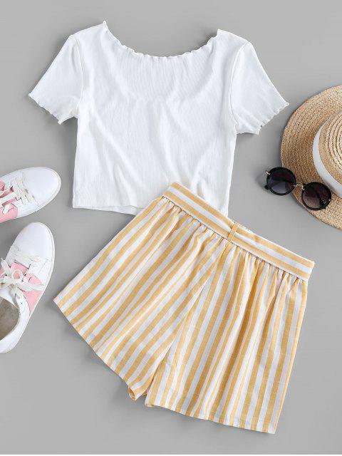 womens ZAFUL Mock Button Striped Lettuce Trim Belted Shorts Set - WHITE S Mobile