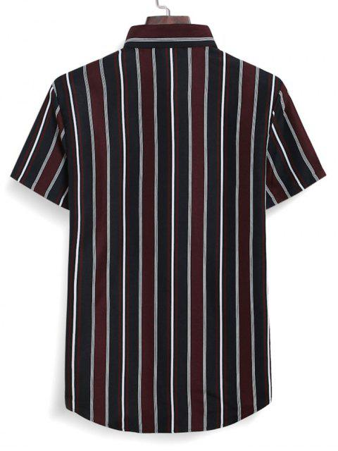 shops Stripes Casual Button Down Shirt - RED WINE M Mobile