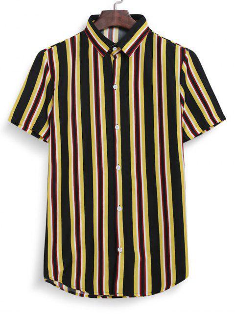 hot Stripes Button Down Shirt - BLACK 3XL Mobile