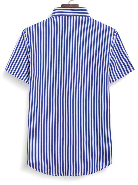 trendy Striped Button Down Shirt - OCEAN BLUE 2XL Mobile