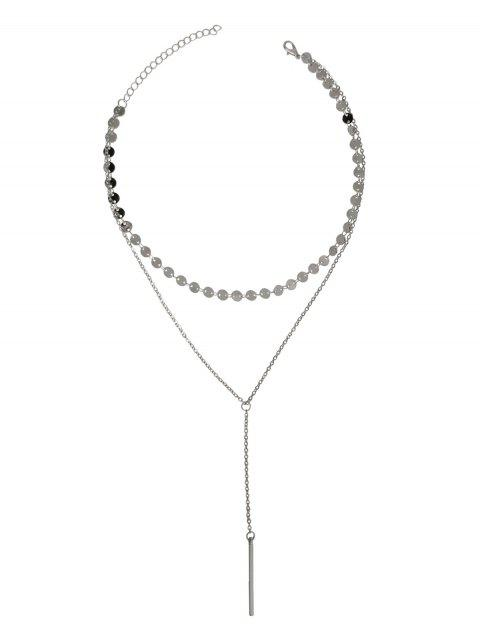 hot Layered Sequins Y Shaped Necklace - SILVER  Mobile
