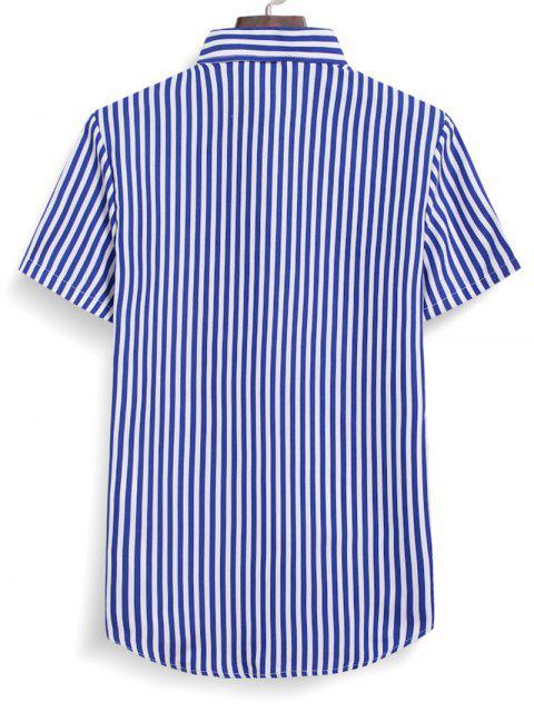 shop Striped Button Down Shirt - OCEAN BLUE M Mobile