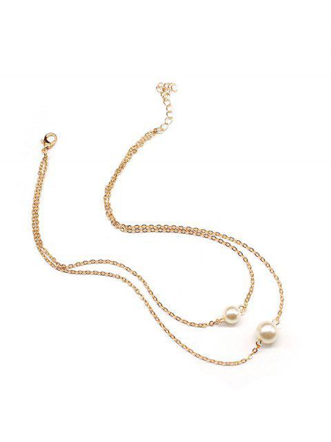 Collar de Cadena de Perlas Artificiales - Oro  Mobile