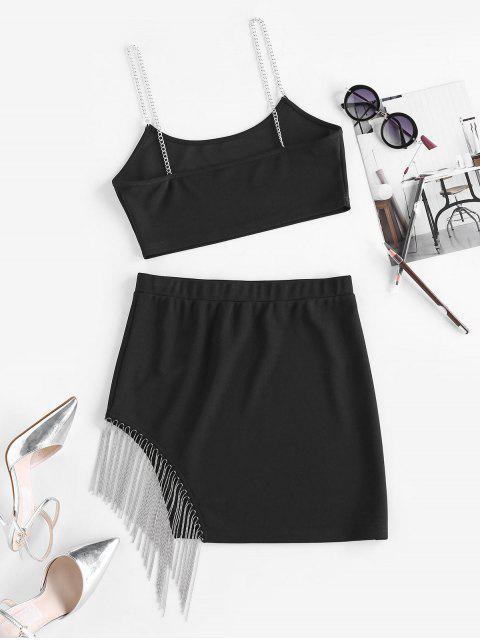 women's ZAFUL Fringe Chains Mini Co Ord Set - BLACK S Mobile