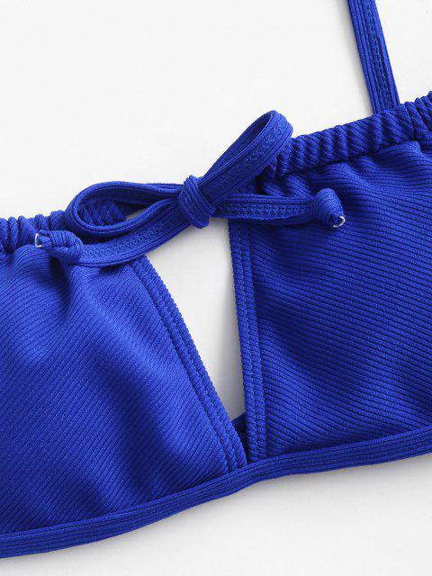 ZAFUL Maillot de Bain Bikini Côtelé Noué à Cordon - Bleu Myrtille M Mobile
