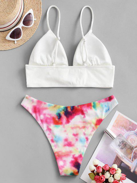shops ZAFUL Ring Tie Dye Ribbed Bikini Swimwear - WHITE S Mobile