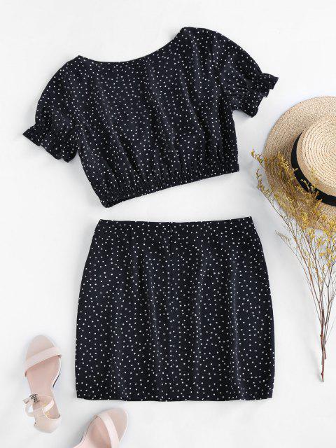 outfits ZAFUL Dalmatian Print Co Ord Set - BLACK XL Mobile