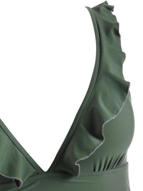 ZAFUL Maiô Plus Size com Babado - Verde de Camuflagem 1X Mobile
