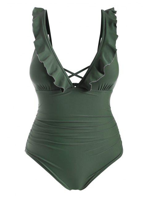 sale ZAFUL Plus Size Ruffle Ruched One-piece Swimsuit - CAMOUFLAGE GREEN 3X Mobile