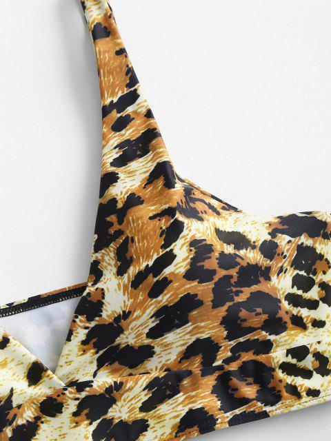 unique ZAFUL Plus Size Leopard Ruched Tankini Swimwear - BLACK XL Mobile