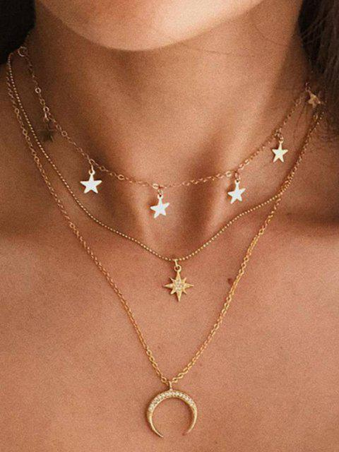 womens Moon Stars Pattern Multi-layer Pendant Necklace - GOLD  Mobile