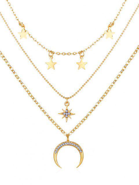 Collana a Strati a Forma di Luna con Stella - Oro  Mobile
