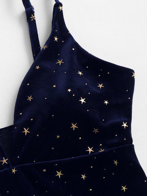 hot ZAFUL Gilded Stars Velvet One-piece Swimsuit - CADETBLUE S Mobile