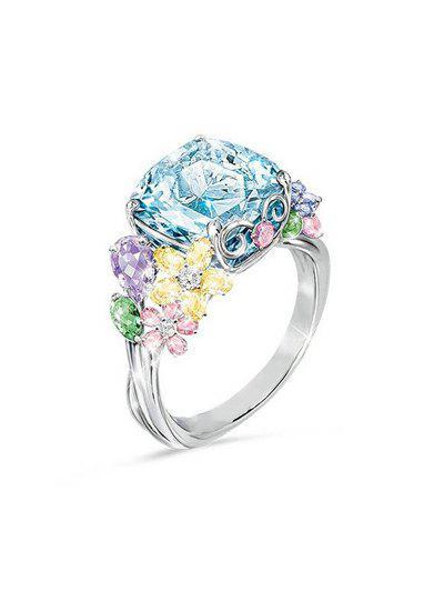 Floral Rhinestone Decoration Alloy Ring - Multi Us 6