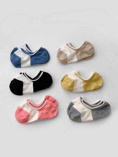6Pairs Colorblock Boat Socks