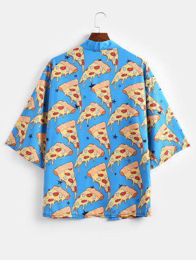 Pizza Print Open Front Kimono Cardigan - Mustard Xs