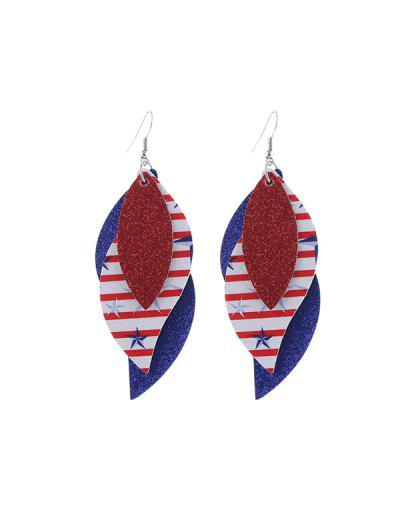 Leaf Shape Country Flag Decorated Earrings - Multi-b