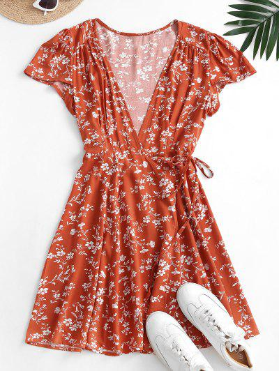Ditsy Blumen Mini Wickelkleid - Kastanie Rot S