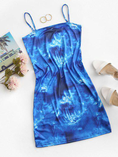 Tie Dye Cami Mini Dress - Blue M