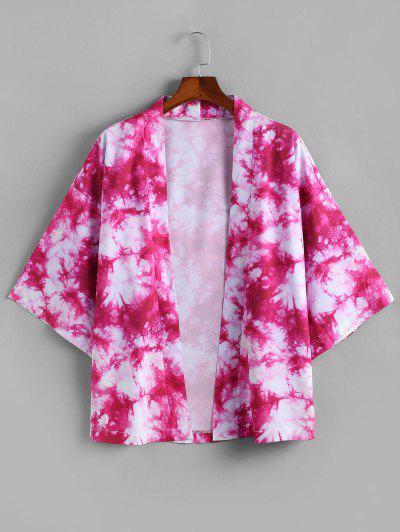 Open Front Tie Dye Printed Kimono Cardigan - Deep Pink L