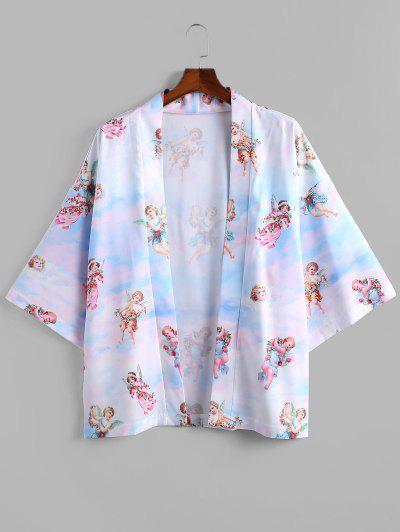 Angel Print Open Front Kimono Cardigan - Light Sky Blue M