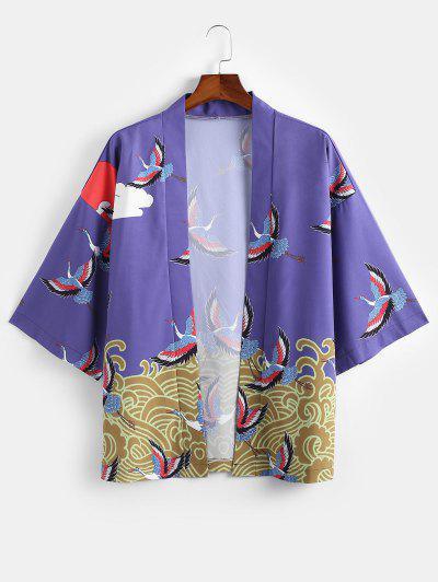 Wave Cranes Print Open Front Kimono Cardigan - Purple Xl