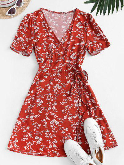 Robe Enveloppée Fleurie à Col V - Rouge M