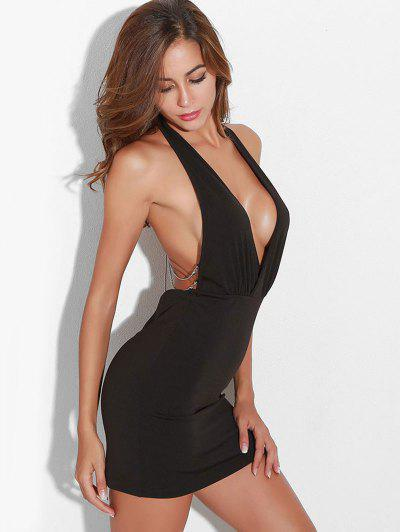 Chains Open Back Bodycon Dress - Black M