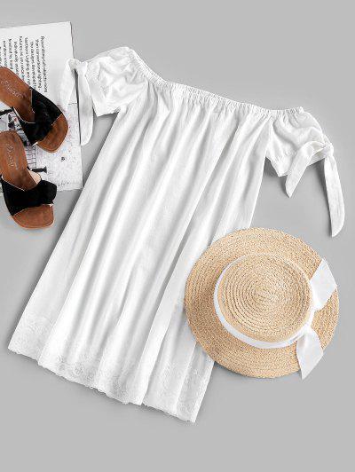 ZAFUL Off Shoulder Knotted Lace Panel Mini Dress - White L