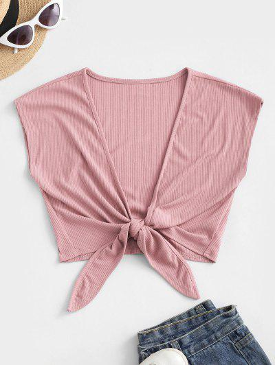 ZAFUL Tie Front Ribbed Cropped Top - Pink Xl