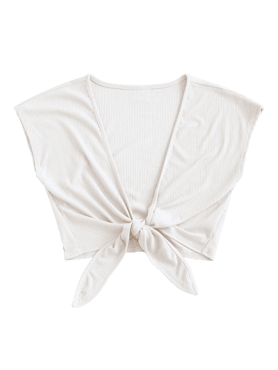 ZAFUL Tie Front Ribbed Cropped Top