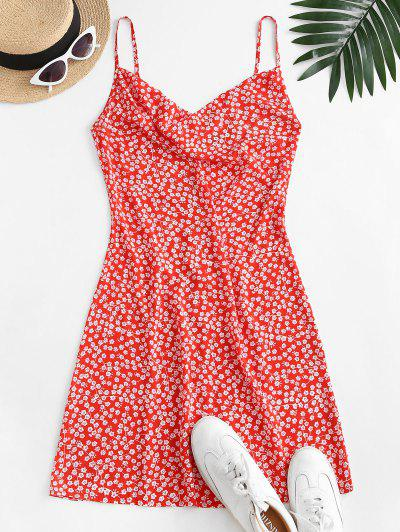 ZAFUL Cowl Front Ditsy Floral Cami Dress - Red S