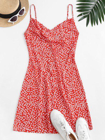 ZAFUL Vestido Floral De Cami Corte Frontal - Rojo S