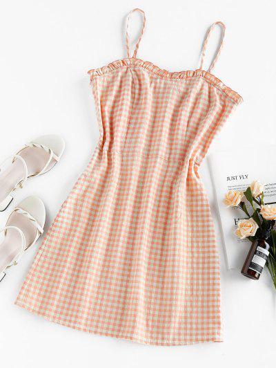 ZAFUL Gingham Ruffled Mini Cami Dress - Orange Pink M