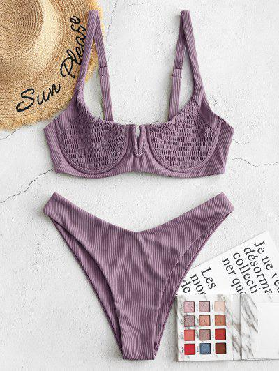 ZAFUL Ribbed Underwire Smocked Balconette Bikini Swimsuit - Dull Purple S