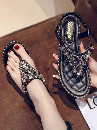 Rhinestone Elastic T-Strap Clip Toe Flat Sandals - Black Eu 41