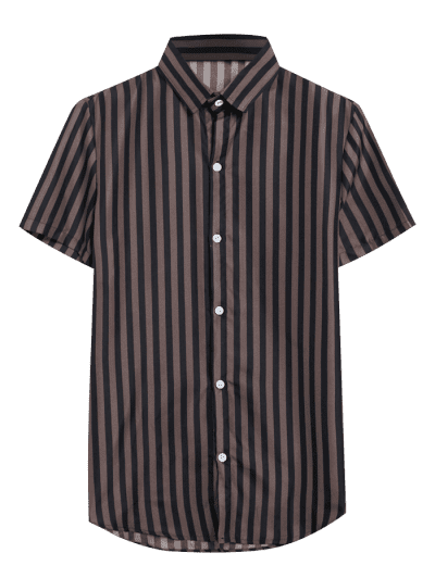 Button Down Striped Short Sleeve Shirt