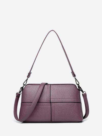 Solid Color Plaid Stitching Crossbody Bag - Viola Purple