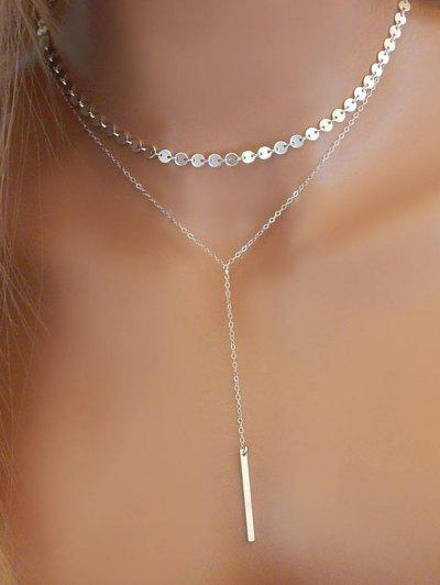 Layered Sequins Y Shaped Necklace - Silver