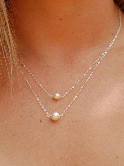 Double Layer Faux Pearl Chain Necklace - Gold