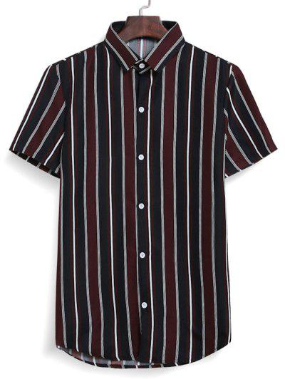 Stripes Casual Button Down Shirt - Red Wine L
