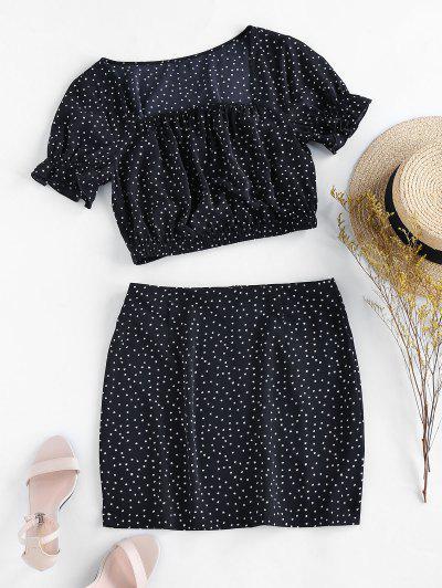 ZAFUL Zweiteiliges Kleid Mit Dalmatinischem Muster Set - Schwarz M
