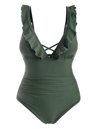 ZAFUL Plus Size Ruffle Ruched One-piece Swimsuit - Camouflage Green 3x