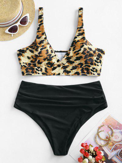 ZAFUL Plus Size Leopard Ruched Tankini Swimwear - Black 3xl