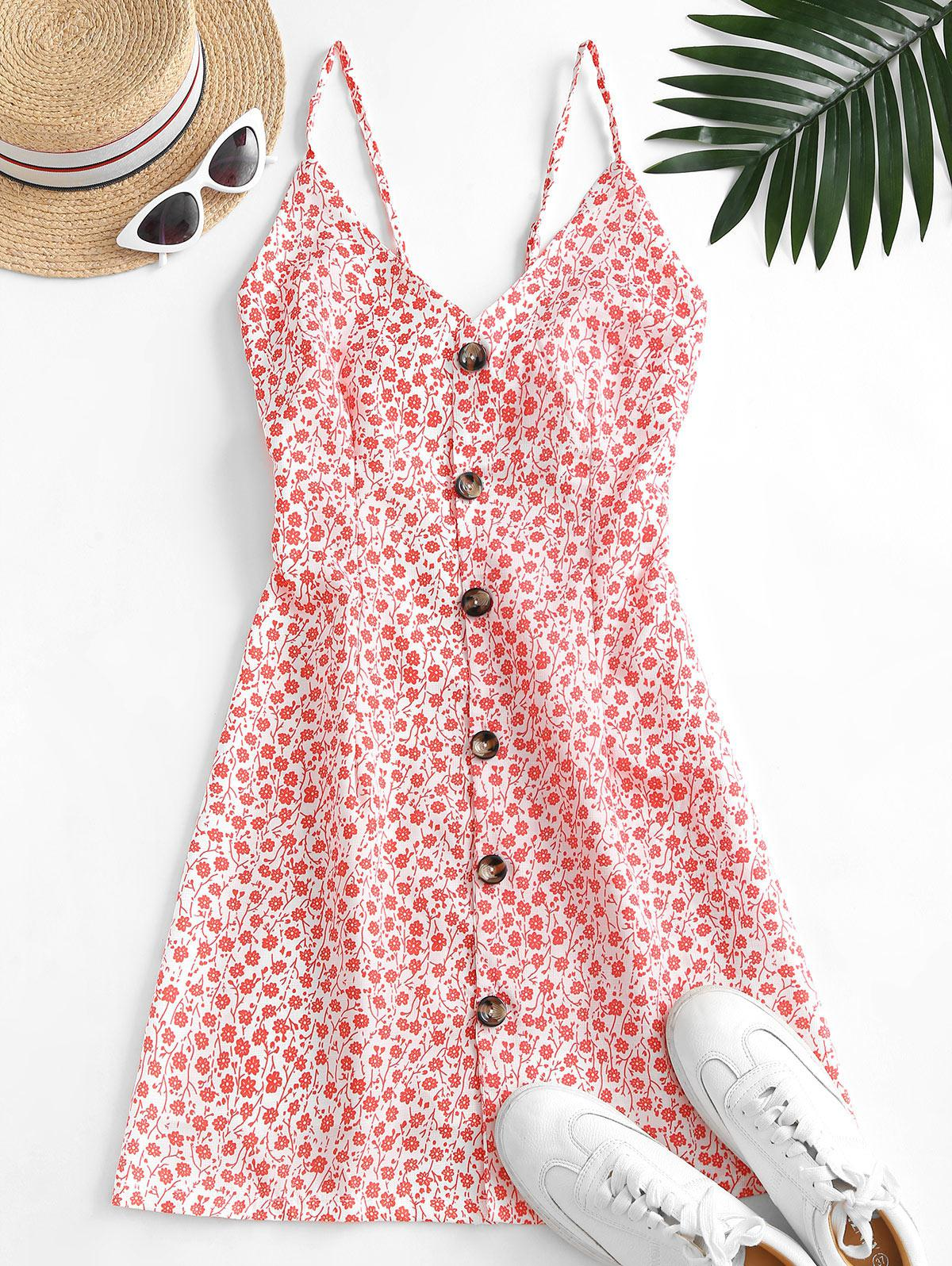Button Up Tie Back Ditsy Floral Dress