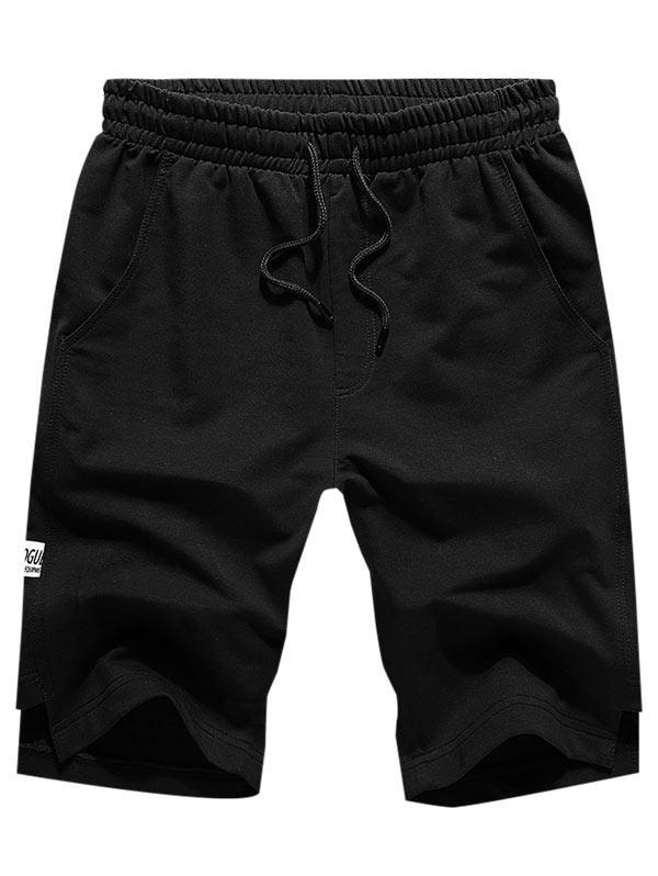 Solid Cut Hem Drawstring Casual Shorts thumbnail