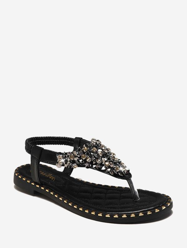 Rhinestone Elastic T-Strap Clip Toe Flat Sandals