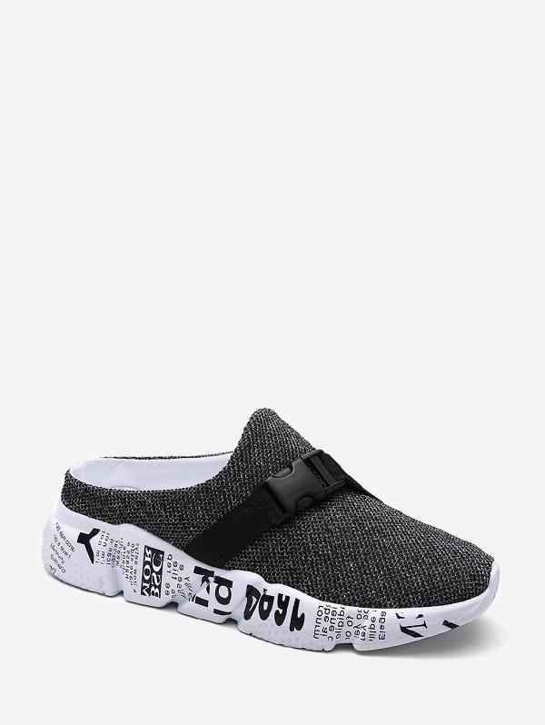 Buckle Embellish Letter Pattern Half Dragged Sandals