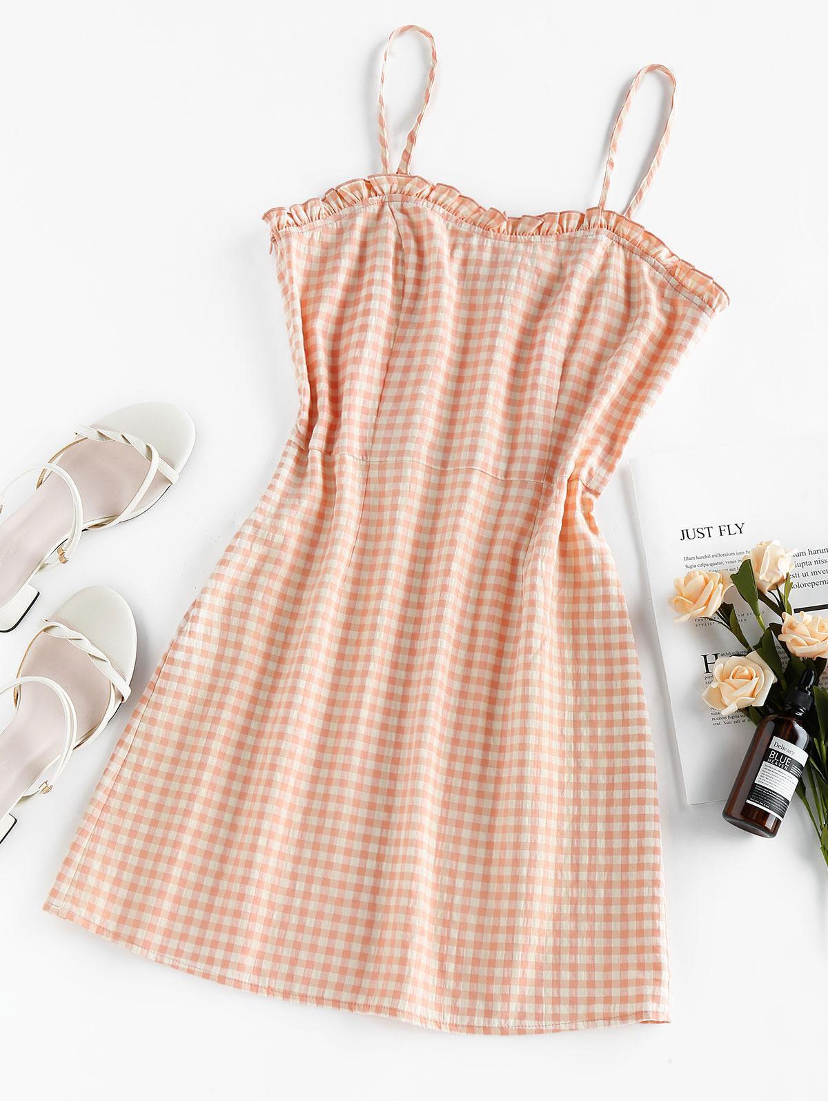 ZAFUL Gingham Ruffled Mini Cami Dress