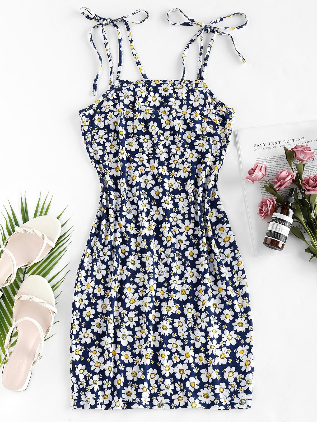 ZAFUL Flower Print Tie Shoulder Bodycon Dress